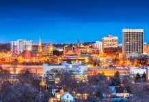 Colorado Springs, Colorado, USA downtown city skyline at dusk