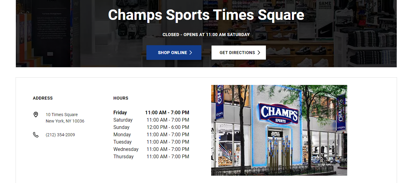 champs sports store