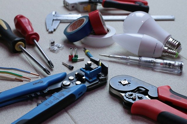 A collection of electrician tools for electrical service upgrades in Moncks Corner South Carolina.