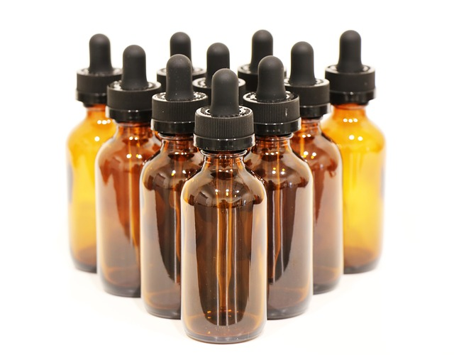 A formation of glass amber bottles from an online store.