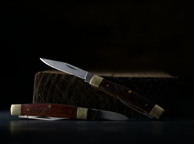 Two French knives leaning on a wooden log from an online store.
