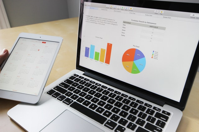 A digital marketing agency from Charleston USA's computer and tablet with graphs and statistics.