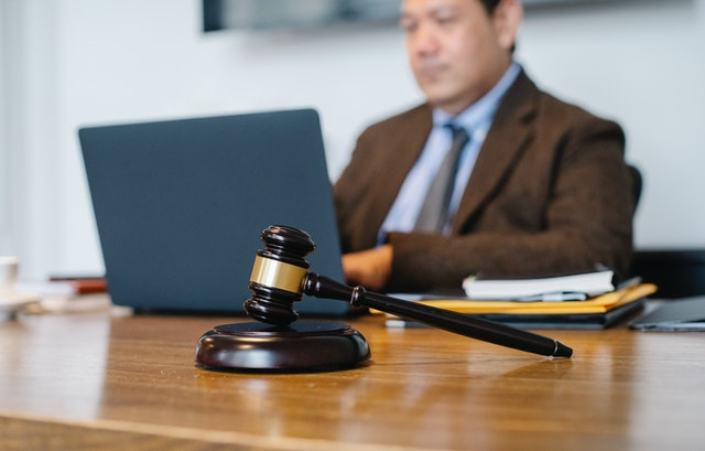 A Nashville medical malpractice attorney on his laptop.