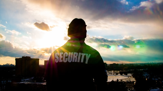A Queens security guard at sunrise.