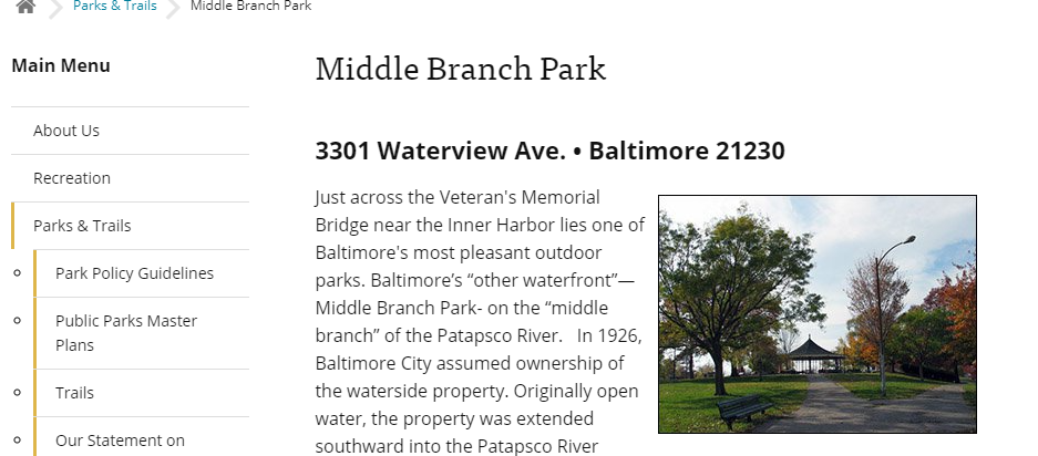 Maintained Parks in Baltimore