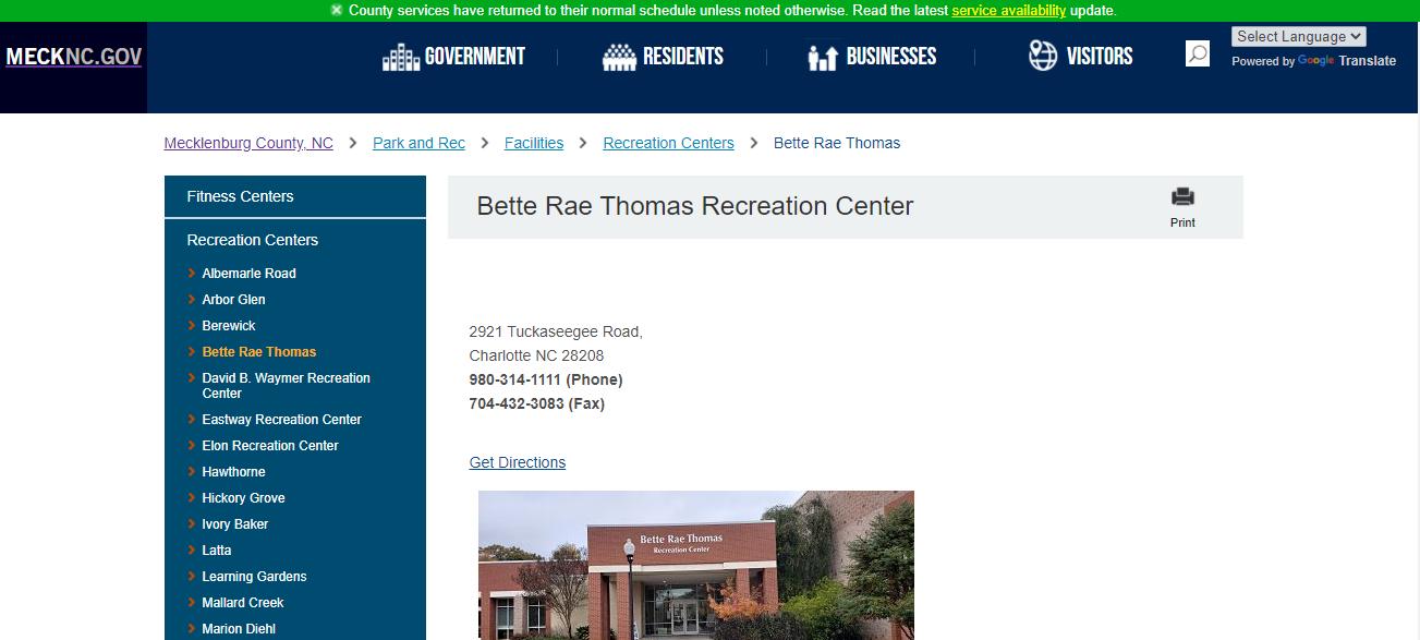 Bette Rae Thomas Recreation Center in Charlotte, NC