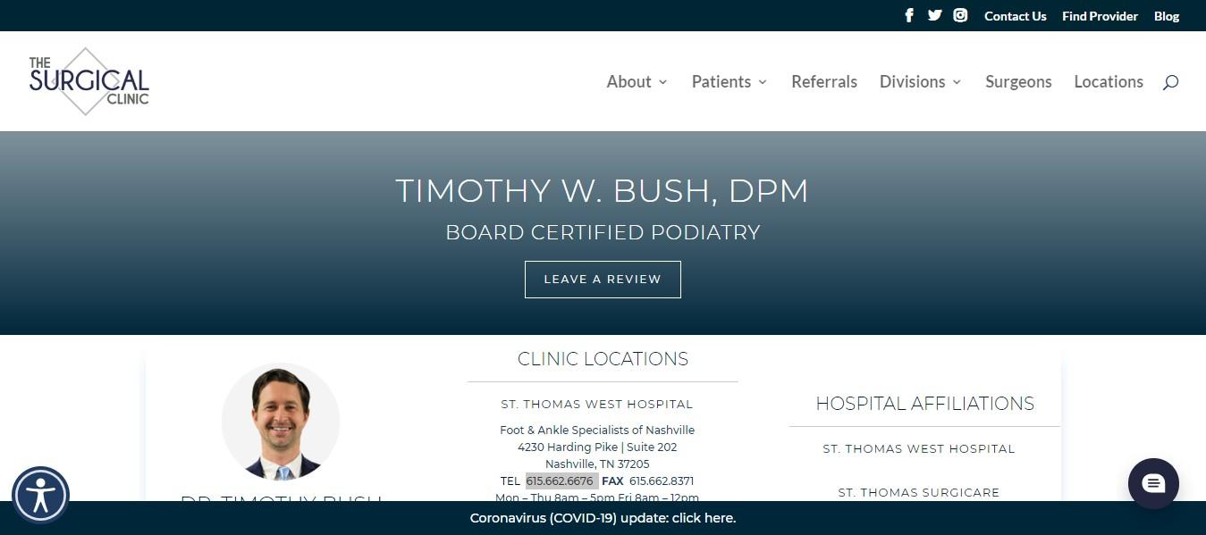 Dr. Bush Podiatrist in Nashville, Tn