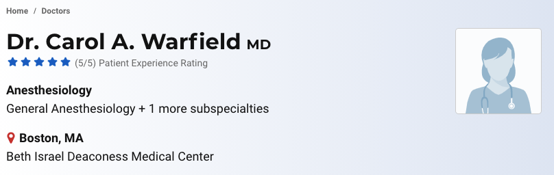 Carol Warfield Boston Anaesthesiologist