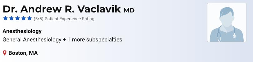 vaclavik best anaesthesiologist boston