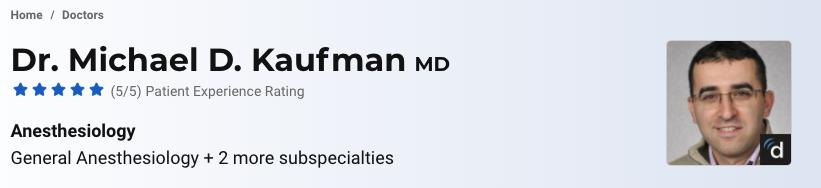 Kaufman Boston Best Anaesthesiologist