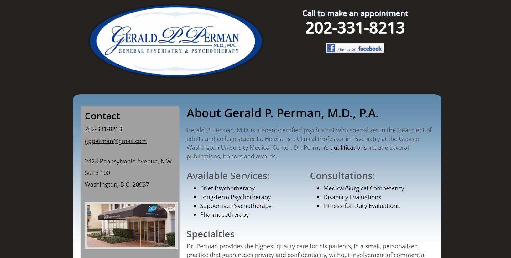 Psychiatrist Gerald Perman in Washington, DC