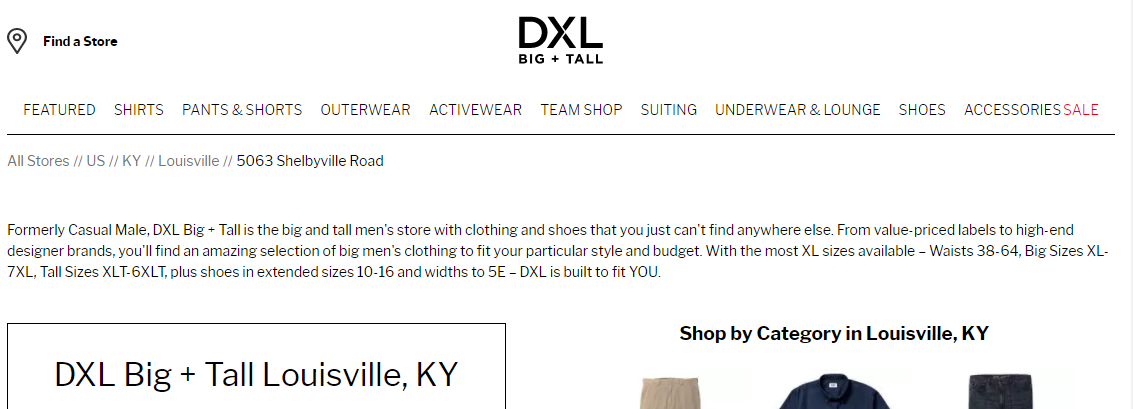 DXL Big + Tall Men's Clothing in Louisville, KY