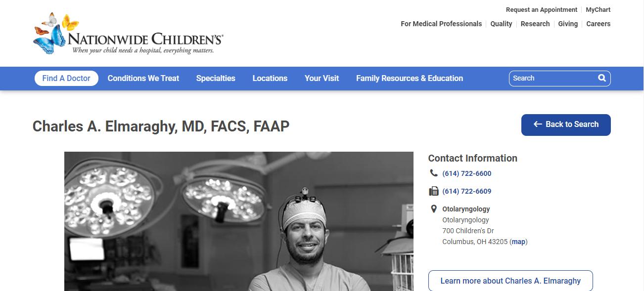 Charles A. Elmaraghy, MD, FACS, FAAP in Columbus, OH