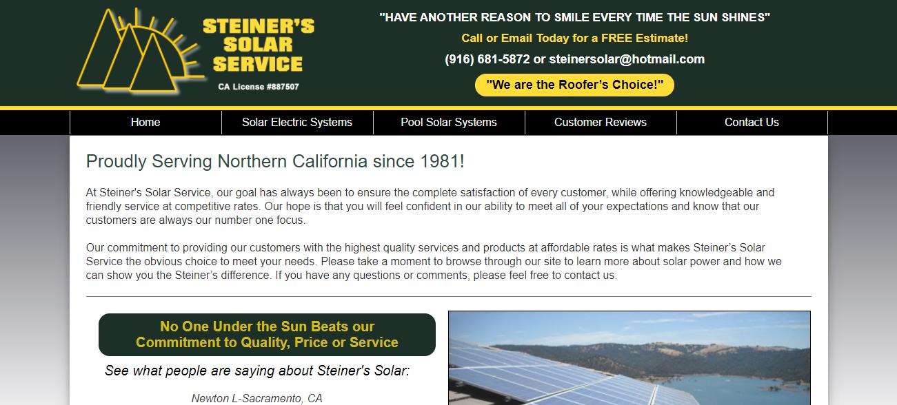 Steiner's Solar Service in Sacramento, CA