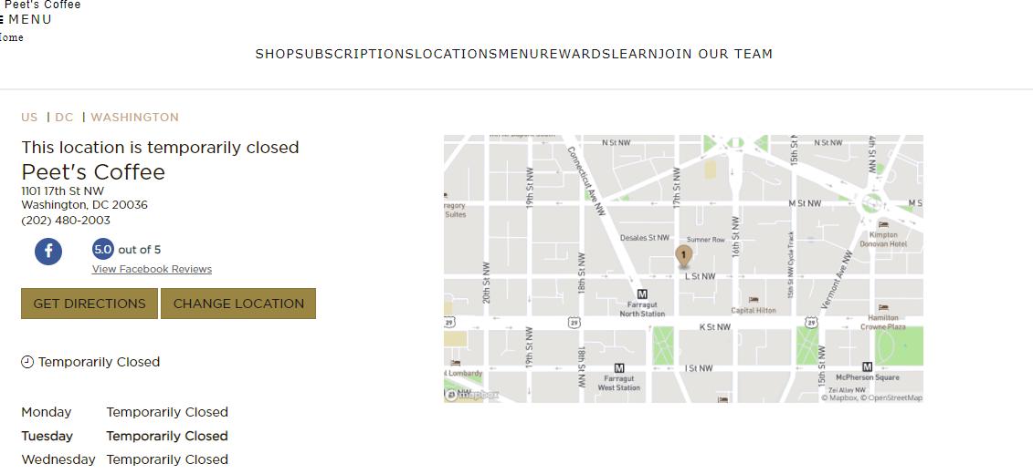 Peet's CoffeeAustralian Restaurants in Washington, DC