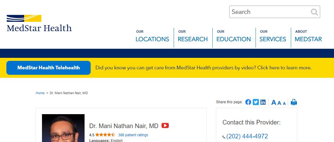 Dr. Mani Nathan Nair