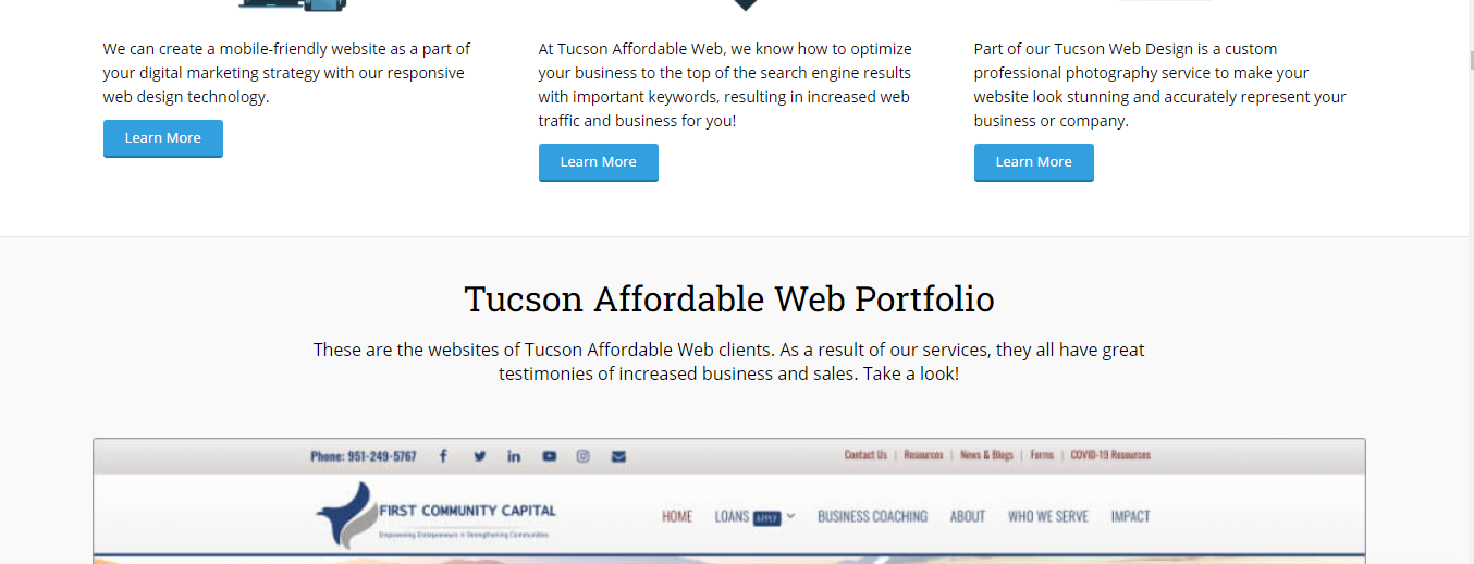 affordable Web Designers in Tucson