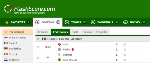 Websites for football scores