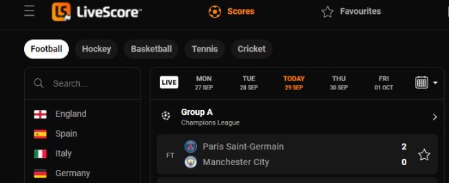 Soccer scores website